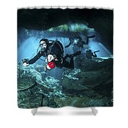 Technical Divers Enter The Cavern Shower Curtain by Karen Doody