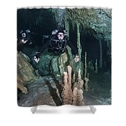 Technical Divers In Dreamgate Cave Shower Curtain