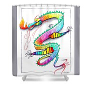 Technicolor Dragon -- Rainbow-colored Whimsical Dragon  Shower Curtain