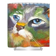 Technicolor Tabby Shower Curtain