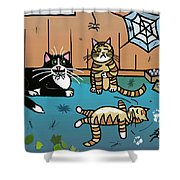 Cats Having Fun Playing With Spiders Shower Curtain