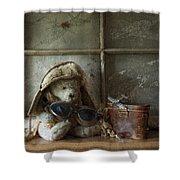 Teddy Fly Boy Shower Curtain