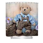 Teddy On Tour Shower Curtain