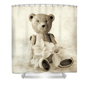 Teddy With Daffodils - Toned Shower Curtain