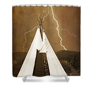 Tee Pee Lightning Shower Curtain