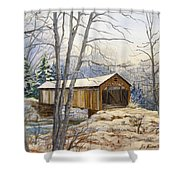 Teegarden Covered Bridge In Winter Shower Curtain
