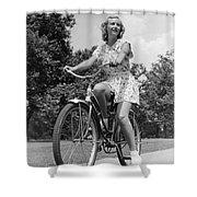 Teeng Girl Riding Bike On Sidewalk Shower Curtain