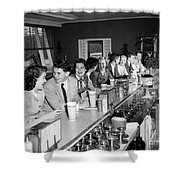 Teens At Soda Fountain Counter, C.1950s Shower Curtain