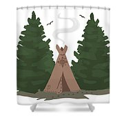 Teepee In The Woods Shower Curtain