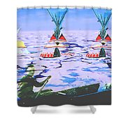 Teepees On Ice Shower Curtain