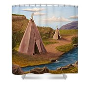 Teepees On The Plains Shower Curtain