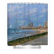 Tel Aviv Beachline Shower Curtain