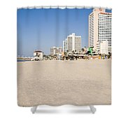 Tel Aviv Coastline Shower Curtain