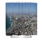 Tel Aviv Israel Elevated View Shower Curtain