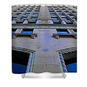Telephone Building With Indigo Reflections Shower Curtain