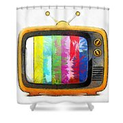 Television Pencil Shower Curtain