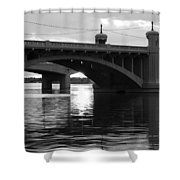 Tempe Town Lake Bridge Black And White Shower Curtain