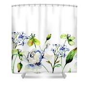 Template For Card With Decorative Wild Flowers Shower Curtain