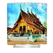 Temple In Laos Shower Curtain