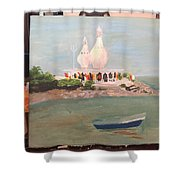 Temple In Sea Shower Curtain