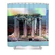 Temple Of Athena Shower Curtain by Robert G Kernodle