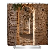 Temple Of Jupiter Anxur Shower Curtain by Yair Karelic
