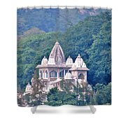 Temple In The Distance - Rishikesh India Shower Curtain