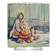 Temple-side Vendor Shower Curtain