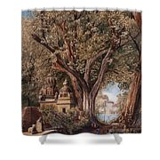 Temples And Burial Ground Near Poona Shower Curtain