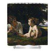 Temptation By William-adolphe Bouguereau Shower Curtain