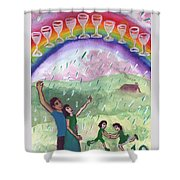 Ten Of Cups Illustrated Shower Curtain
