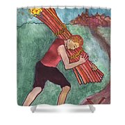 Ten Of Wands Illustrated Shower Curtain