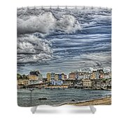 Tenby Harbour Texture Effect Shower Curtain