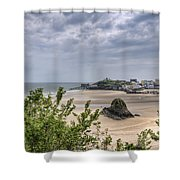 Tenby Pembrokeshire Low Tide Shower Curtain