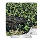 Tennessee River Gorge And Waterfall Panorama Shower Curtain
