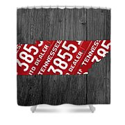 Tennessee State License Plate Map Shower Curtain