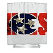 Tennessee Typography Map Flag Shower Curtain
