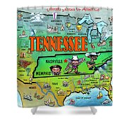 Tennessee Usa Cartoon Map Shower Curtain