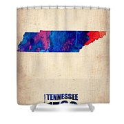 Tennessee Watercolor Map Shower Curtain by Naxart Studio