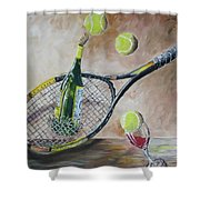 Tennis And Wine Shower Curtain