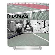 Tennis Coach Alphabet Art Shower Curtain