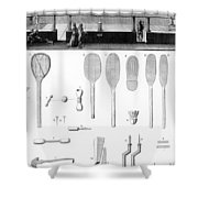Tennis Court And Rackets Shower Curtain
