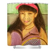 Tennis Player, 8x10, Pastel, '07 Shower Curtain