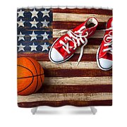Tennis Shoes And Basketball On Flag Shower Curtain