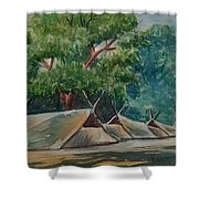Tents Under Tree Shower Curtain