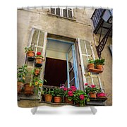 Terra Cotta Pots Outside Window In Old Town Nice, France Shower Curtain