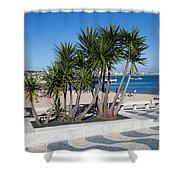 Terrace Promenade At Ribeira Beach In Cascais Shower Curtain