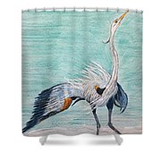 Terri's Heron Shower Curtain