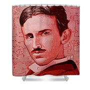 Tesla Shower Curtain by Kyle Willis