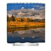 Teton Fall Foliage And Fog Shower Curtain
